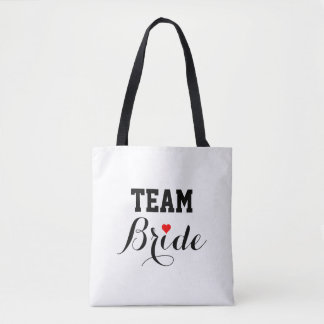 Team Bride Red Heart Tote Bag B