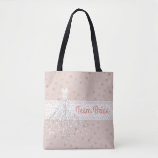 Team Bride Rose Gold Foil Confetti Polka Dots Tote Bag