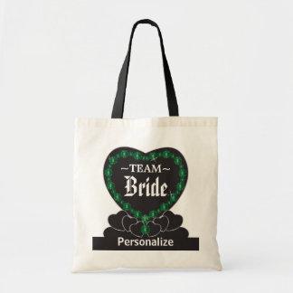 Team Bride | Wedding | Emerald Green | DIY Text Tote Bag