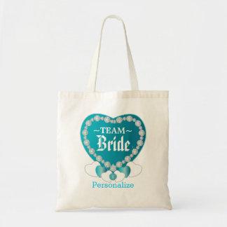 Team Bride | Wedding | Turquoise Blue | DIY Text Tote Bag