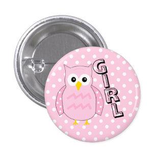Team Girl-Owl Baby Shower Pinback Button