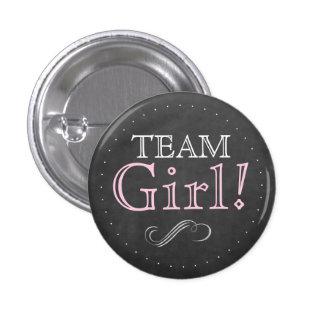 Team Girl Pink Chalkboard Baby Shower 3 Cm Round Badge
