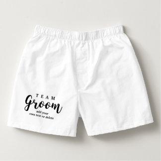 Team Groom Modern Wedding Favors for Groomsmen Boxers