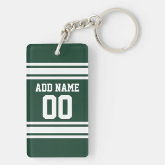 Team Jersey with Custom Name and Number Double-Sided Rectangular Acrylic Key Ring