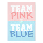 """Team Pink or Team Blue Baby Gender Reveal Party 5"""" X 7"""" Invitation Card"""