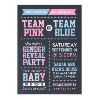 Team Pink or Team Blue Chalkboard Gender Reveal Invite