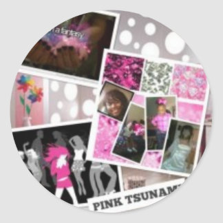 TEAM PINK TSUNAMI ROUND STICKER