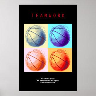 Teamwork Basketball Motivational Sport Pop Art Poster
