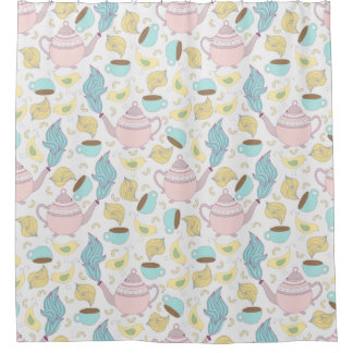 Teapots Teacups and Birds Whimsical Pastel Pattern Shower Curtain