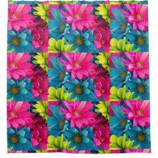 Technicolor daisy flowers shower curtain