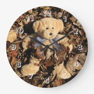 Teddy Bear and A Big Pile of Leaves Wallclock