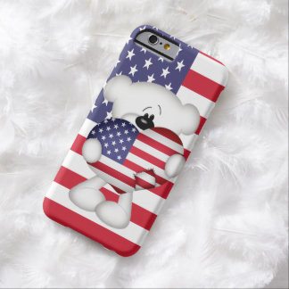 Teddy Bear and Big USA Flag Heart Barely There iPhone 6 Case