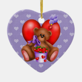 Teddy Bear And Bucket Of Hearts Ornament