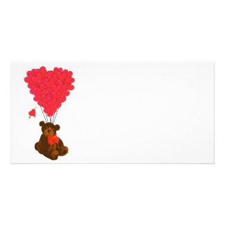 Teddy bear and  heart balloons custom photo card