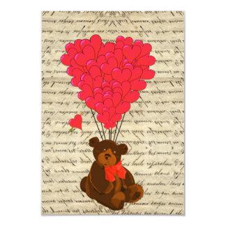 Teddy bear and heart 3.5x5 paper invitation card