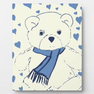 Teddy Bear and Hearts Photo Plaques
