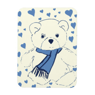 Teddy Bear and Hearts Rectangular Photo Magnet