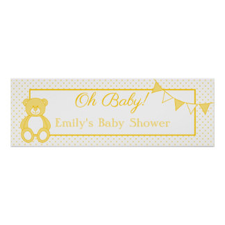 Teddy Bear Baby Boy Banner Posters
