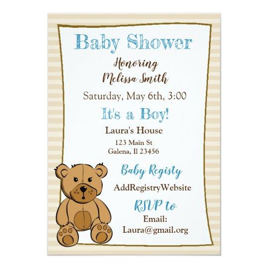 Teddy Bear Boy Baby Shower Invitations
