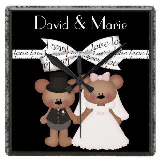 Teddy Bear Bride & Groom Wedding Wallclock