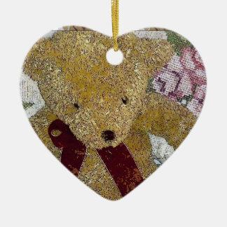 Teddy Bear Ceramic Heart Decoration