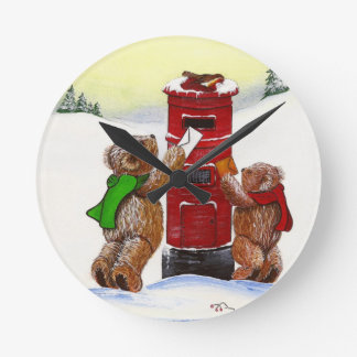Teddy Bear Christmas Card Wallclocks