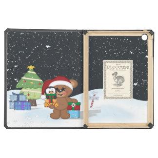 Teddy Bear, Christmas Tree, Cute Snow Scene Case For iPad Air