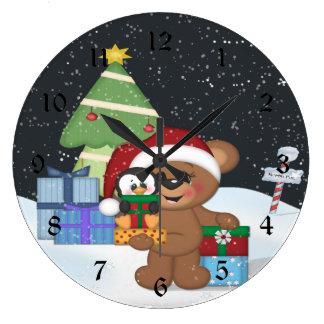 Teddy Bear Christmas Tree Cute Snow Scene Wallclocks