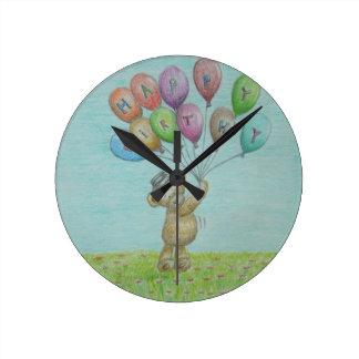 teddy bear round wall clocks