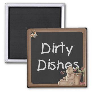 Teddy Bear Dirty Dishes Dishwasher Magnet