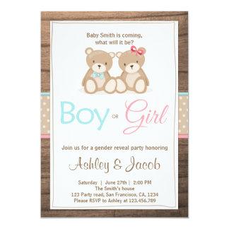 Teddy bear Gender reveal invitation Boy or Girl