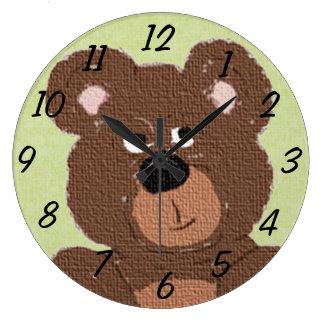 Teddy Bear (green) Wall Clocks