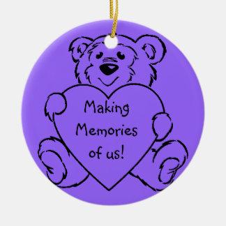 Teddy Bear Hearts Double-Sided Ceramic Round Christmas Ornament