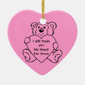 Teddy Bear Hearts Christmas Ornaments