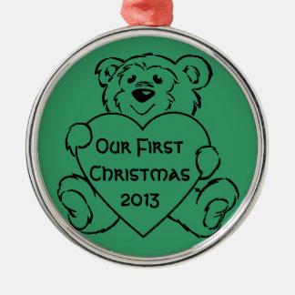 Teddy Bear Hearts Christmas Tree Ornaments