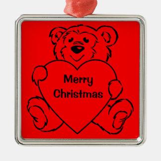 Teddy Bear Hearts Square Metal Christmas Ornament