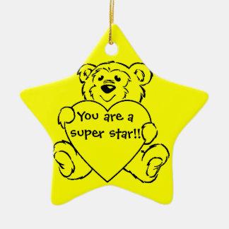 Teddy Bear Hearts Double-Sided Star Ceramic Christmas Ornament