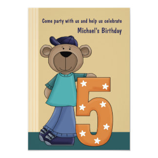 Teddy Bear Hip 5 Year Old - Birthday Party Invitat Card