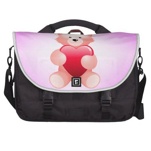 Teddy Bear Holding a Heart Laptop Bag