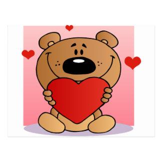 Teddy Bear Holding A Red Heart Postcard