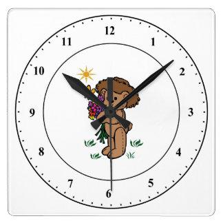 Teddy Bear Holding Flowers Wall Clock