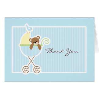 Teddy Bear in a Stroller Baby Shower Thank You Greeting Card
