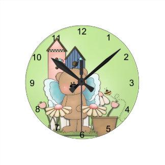 Teddy Bear in Garden Clocks