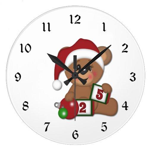 Teddy Bear in Santa Hat Clocks