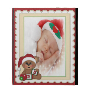 Teddy Bear in Santa Hat Photo Template iPad Folio Cover