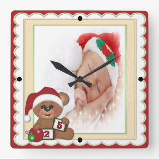 Teddy Bear in Santa Hat Photo Template Square Wall Clocks