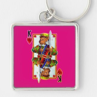 Teddy Bear King of Hearts Keychain