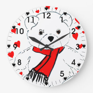 Teddy Bear Love - Red and White Wallclock