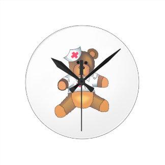 TEDDY BEAR NURSE ROUND WALLCLOCK