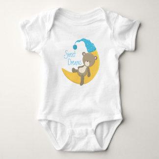 Teddy Bear on Crescent Moon Baby Bodysuit